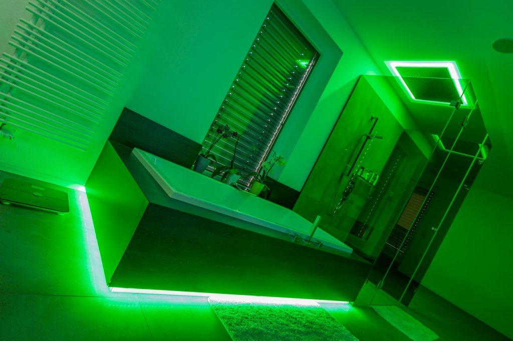 Zelená světelná scéna