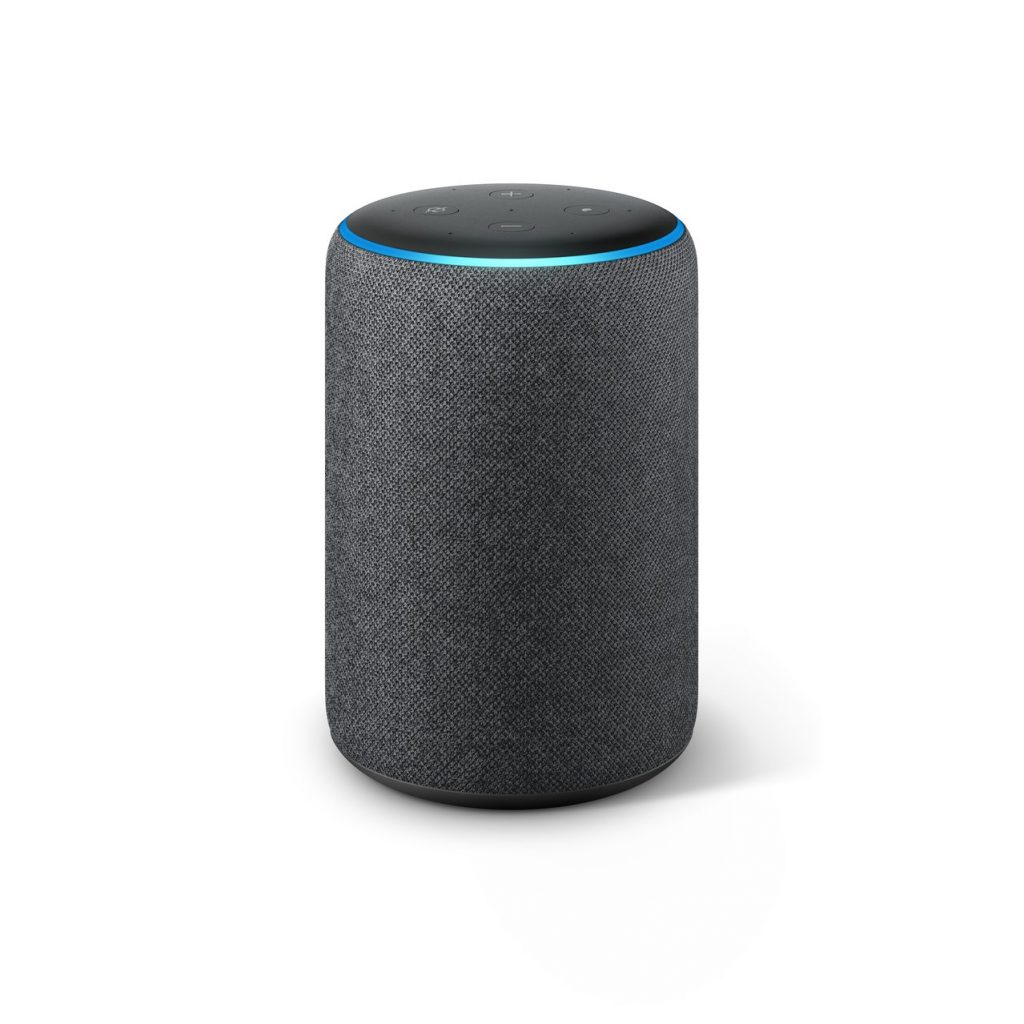 Hlasový asistent Amazon Echo, který slyší na jméno Alexa, v tmavém provedení