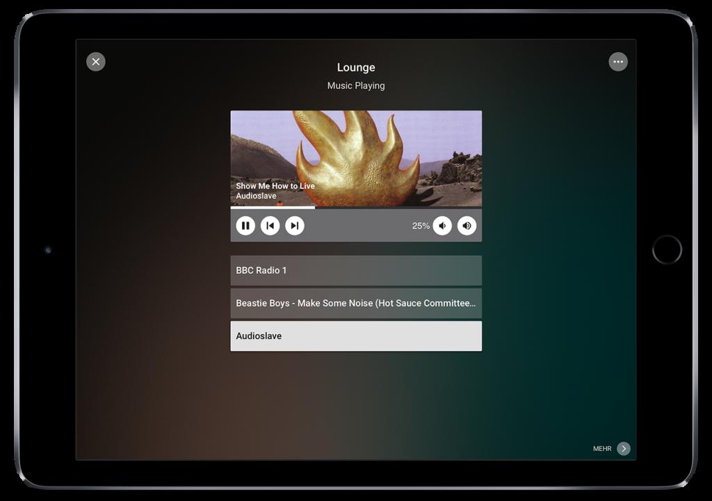 Výběr a nastavení hudby v aplikaci Loxone