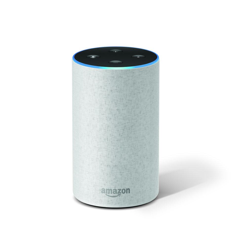 Bílý hlasový asistent Amazon Alexa